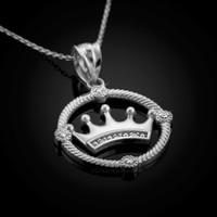 White Gold Quinceanera Crown Diamond Pendant Necklace