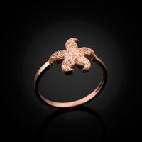 Rose Gold Ladies Starfish Ring