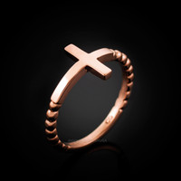 Rose Gold Ladies Cross Ring