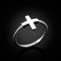 White Gold Greek Cross Ring