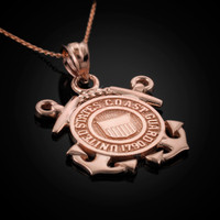 Rose Gold US Coast Guard Pendant Necklace