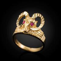 Gold Ram's Head Ring