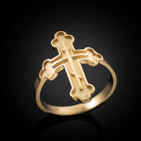 Gold Russian Cross Ring