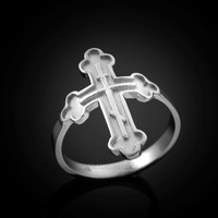 White gold rissian cross ring