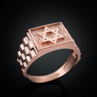 rose gold star david rolex ring