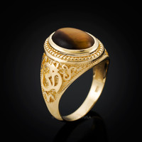 Mens Gold OM Ring. Tiger Eye Om ring.