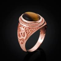 Rose Gold Om ring. Men's Tiger Eye Om ring.