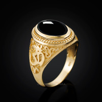 Gold Om Ring. Men's Gold Onyx Ring.