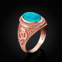 Rose Gold Om Ring. Men's Gold Turquoise Ring.