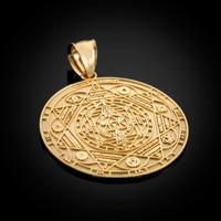 Gold 7 Chakra Yoga Calendar Medallion Pendant (S/M/L)