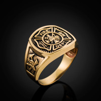 Gold Fire Fighter Ring. Mens Fire Rescue Ring.