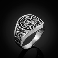 White Gold Fire Fighter Ring.