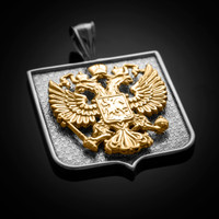 Two-Tone White Gold Russian Federation Coat of Arms Badge Pendant