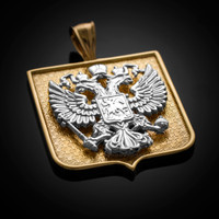 Two-Tone Yellow Gold Russian Federation Coat of Arms Badge Pendant