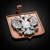 Two-Tone Rose Gold Russian Federation Coat of Arms Badge Pendant