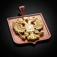 Two-Tone Rose and Yellow Gold Russian Federation Coat of Arms Badge Pendant