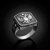Russian Coat of Arms Men's White Gold Ring