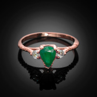 Rose Gold Rope Band Emerald White Topaz Stackable Promise Ring