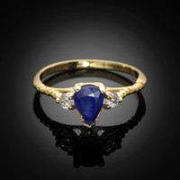 Blue Sapphire Gold Stackable Ring