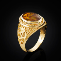 Gold Om Mantra Amber Cabochon Yoga Ring