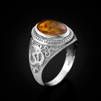 White Gold Om Mantra Amber Cabochon Yoga Ring