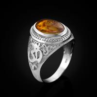White Gold Om Mantra Amber Cabochon Yoga Ring