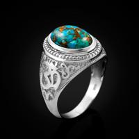 White Gold Om Ring. Men's Gold Turquoise Ring.