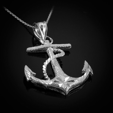White gold mariner anchor pendant necklace textured white gold mariner anchor pendant necklace aloadofball Images