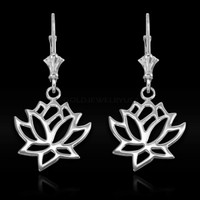 White Gold Lotus Earrings