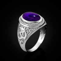 White Gold Om (Aum) Oval Amethyst Cabochon Yoga Ring