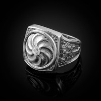 Mens White Gold Armenian Diamond Ring
