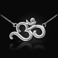 White Gold (aum) Om Necklace