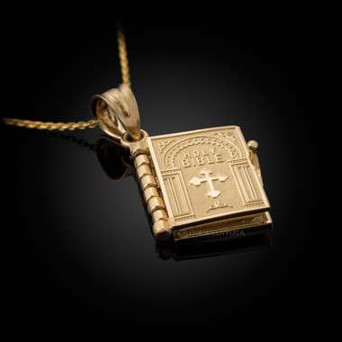 Gold english holy bible 3d christian book pendant necklace mozeypictures Image collections