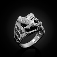 White Gold American Eagle Black Onyx Mens Open Nugget Ring