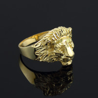 Men's Gold Lion Head Ring