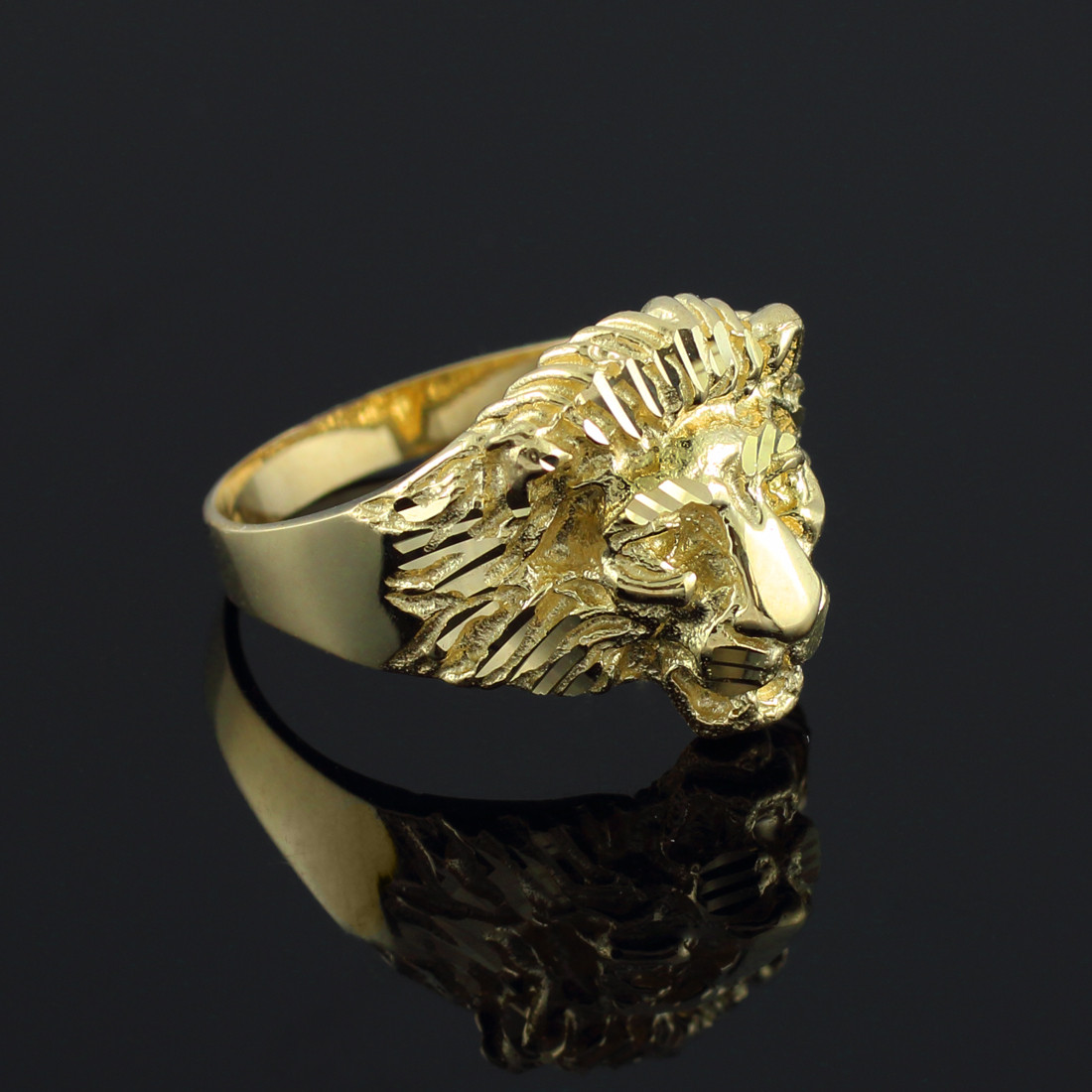 Details about gold lion head ring 10k 14k yellow white rose gold