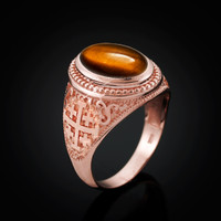 Rose Gold Jerusalem Cross Tiger Eye Gemstone Statement Ring