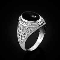 White Gold Jerusalem Cross Black Onyx Gemstone Statement Ring