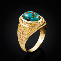 Yellow Gold Jerusalem Cross Blue Copper Turquoise Statement Ring