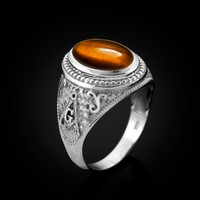 White Gold Masonic Tiger Eye Gemstone Statement Ring