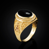 Gold Masonic Ring with black Onyx Cabochon