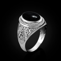 White Gold Masonic Onyx Gemstone Statement Ring