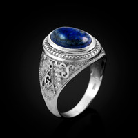 White Gold Masonic Lapis Lazuli Gemstone Statement Ring