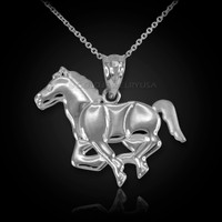 White Gold Running Mustang Stallion Horse Equestrian Pendant Necklace