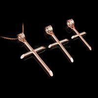 Polished Rose Gold Plain Tube Cross Charm Necklace (S/M/L)