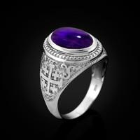 White Gold Jerusalem Cross Purple Amethyst Cabochon Statement Ring