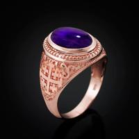 Rose Gold Jerusalem Cross Purple Amethyst Cabochon Statement Ring