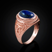 Rose Gold Celtic Knot Lapis Lazuli Gemstone Statement Ring