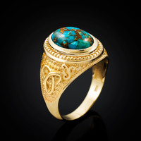 Yellow Gold Celtic Knot Blue Copper Turquoise Statement Ring