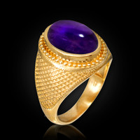 Yellow Gold Textured Band Purple Amethyst Cabochon Statement Ring